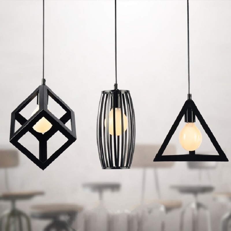 Buy Vintage Retro Pendant Lights LED Lamp Metal Cube Cage La