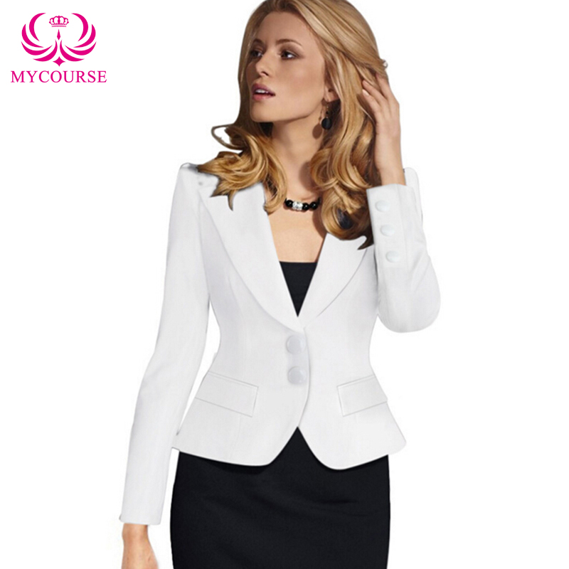 2016 MYCOURSE European Style New Womens Color Blazer Jacket Suit Work Casual Basic Long Sleeve Short Blazer Solid Color Slim(China (Mainland))