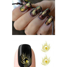 1 sheet Gold Feather Design Nail Art Water Transfer Sticker Nails Beauty Wraps Foil Polish Decals DIY Nail Decorations #BLE-Y082