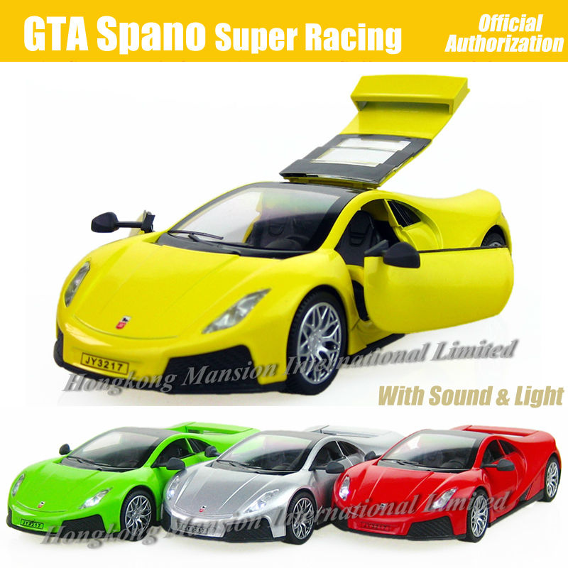 1:32 Scale Diecast Alloy Metal Espana Super Racing Car Model For GTA Spano Collection Model Pull Back Toys Car With Sound&Light(China (Mainland))