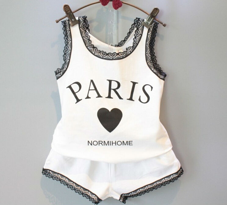 2015 New Summer Fashion Casual Letter White Children Clothing Set Girls Lace Vest + Shorts Kids Twinset Outfits Love Heart(China (Mainland))