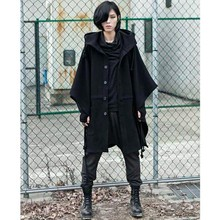 Cool Fashion Harajuku Gothic Clothing Black Mens Jacket Trench Coat Wool Men Fashion Brand Peacoat Hooded Cloak Long Big Size(China (Mainland))