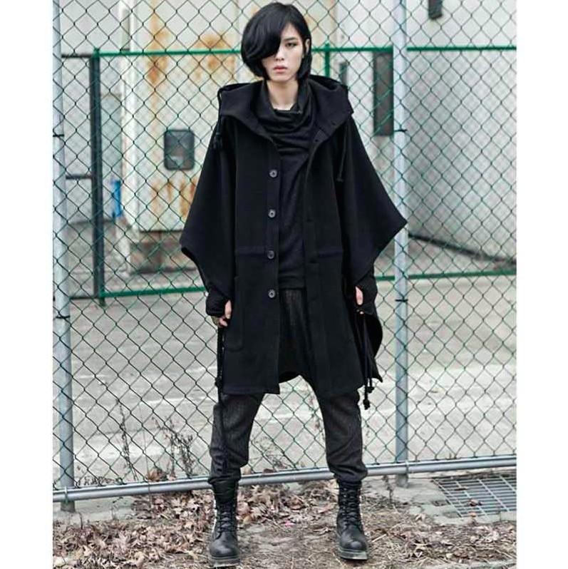 Cool Fashion Harajuku Gothic Clothing Black Mens Jacket Trench Coat Wool Men Fashion Brand Peacoat Hooded Cloak Long Big Size(China (Mainland))