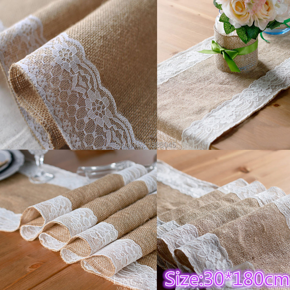 30x275cm Vintage Burlap Lace Hessian Table Runner Natural Jute Country Party Wedding Decoration Linen Runner Table Decoration(China (Mainland))