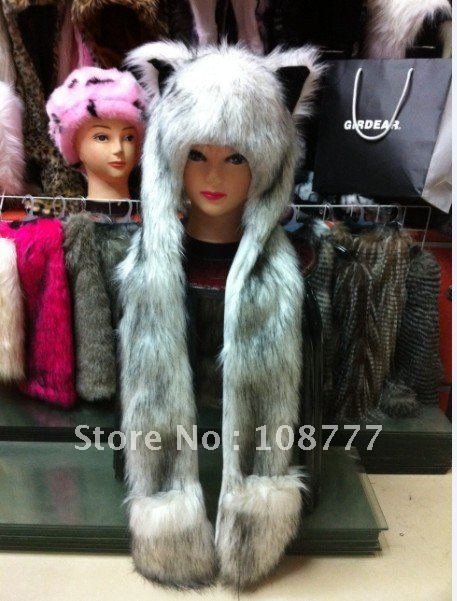 Genuine Rabbit Fur Hat/female women lady/winter warm/Wholesale or Retail Free Shipping/OEM/Fox head cap/headdress black in white