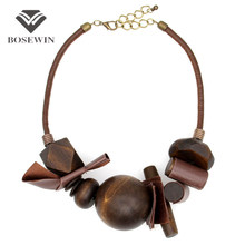 Latest Women Indain Jewelry Collar Chokers Necklaces Vintage Handmade Leather Wrap Wood Ball Maxi Statement Necklaces & Pendants(China (Mainland))