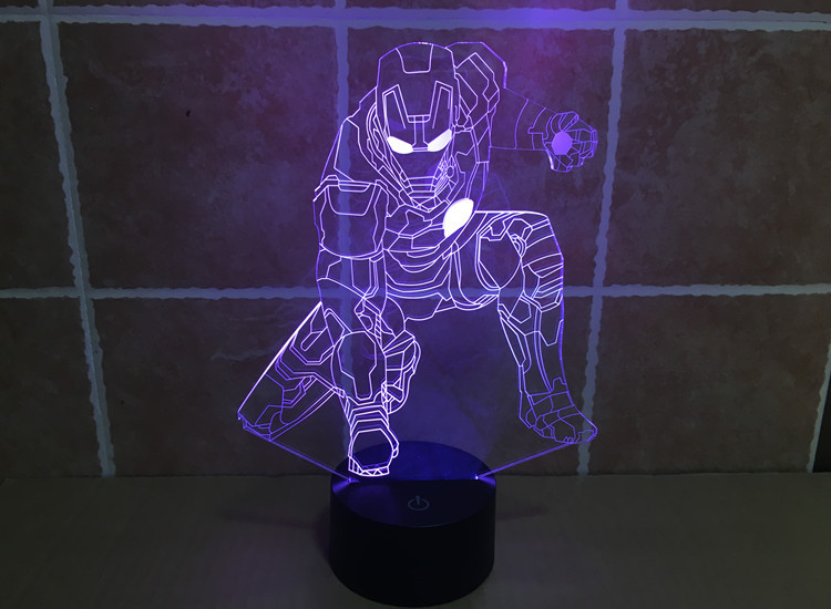 Colorful cannon Iron Man Mood Lamp 3D visual light Acrylic lamp LED lamp night light touch illusion toy Holiday ACTION FIGURE(China (Mainland))