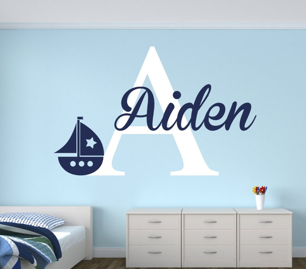 personalized name sailboat wall decal for boys nautical