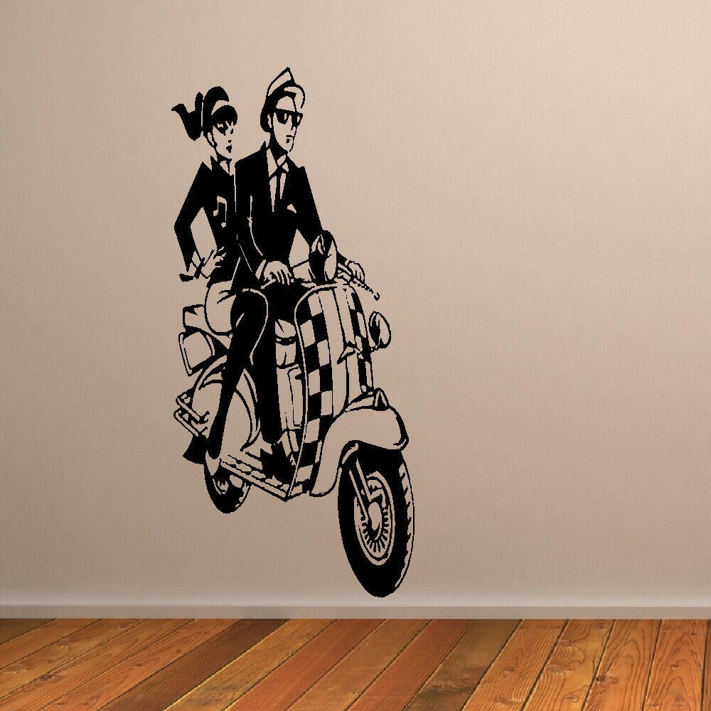 Decorative Wall Paper Art Sticker : New large wall sticker ska scooter mural art decal
