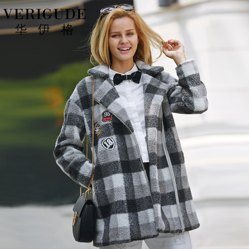 Veri Gude Women Long Faux Fur Coat Synthetic Faux Lamb Fur Plaid Coat for Winter High Quality