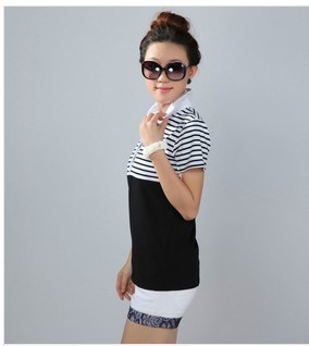 New Summer Plus Size Women Clothing Short Sleeve Lapel Collar Striped T-Shirts Fashion Top Bodycon T-Shirt Large Size  #DH2046