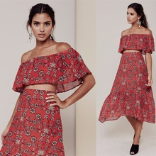 Women Love Pia Crop Top And Pia Midi Skirt Set Elastic Off Shoulder Red Floral Print Summer Chiffon Crop Top And Midi Skirt Set(China (Mainland))