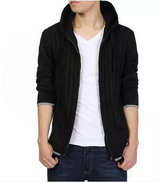 Europe United States men's autumn/winter big yards thick long sleeve hooded cardigan sweater coat black gray 6 xl - Beautiful * clothing store
