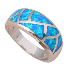 Top sell New Cool style Blue fire Opal Silver Stamped Rings for women fashion jewelry USA size #6 #7 #8 #9 #10 OR530A(China (Mainland))