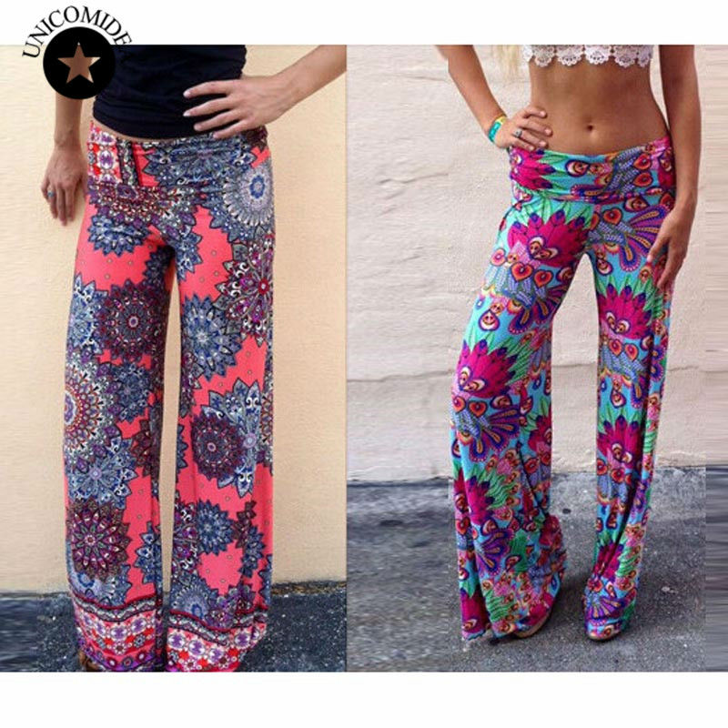 Women Pants Casual High Waist Flare Wide Leg Long Palazzo Trousers Floral Plus Size Classic Hip Hop Cute Pant - Love Tree Store store
