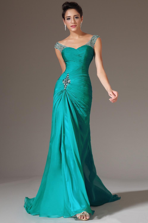 Vestidos de noche verde turquesa