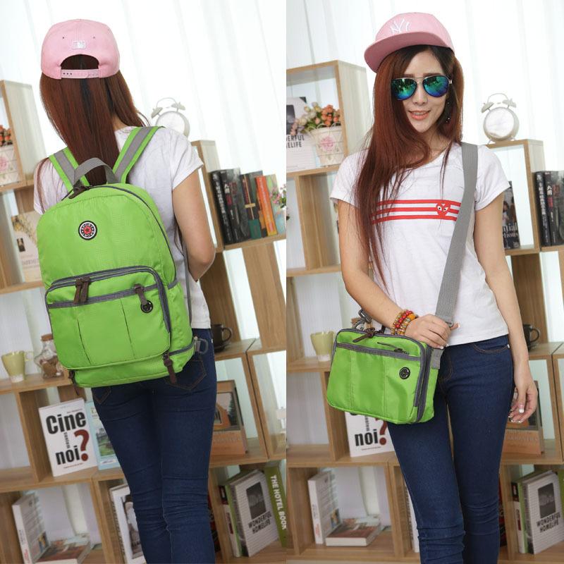 Women/men's Multi-function Foldable waterproof nylon backpack folding backpack shoulder crossbody bag backbag Outdoor School(China (Mainland))