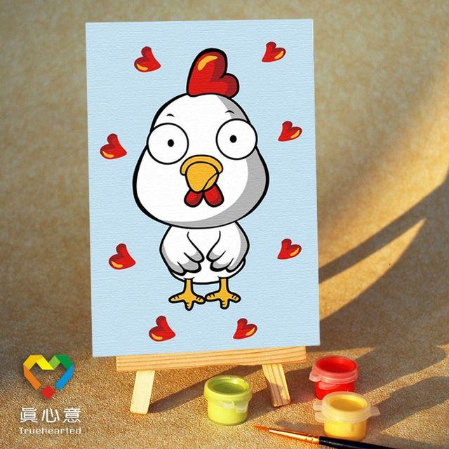 Diy digital oil painting cartoon oil painting zodiac - chicken 10 15 mini painting belt easel