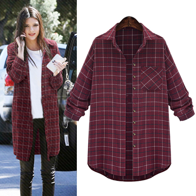 Plus Size Long Sleeve Long Casual Plaid Shirt For Women In