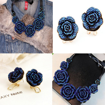 2016 Hot Necklace Fashion Party Luxury Choker Statement Rose Flower Earrings Sets Jeweley 584 - XY Jewelry Company (Min order $8 store)