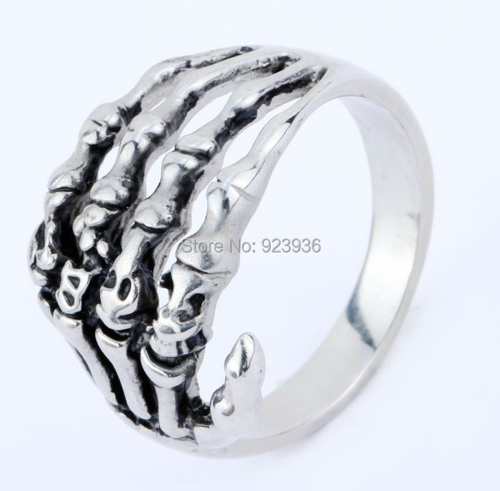 FREE SHIPPING wholesale 50pcs/lot Punk Silver Skull Party 316L Stainless Steel Mens Skeleton Hand Claw Ring 100% Guarantee 8-12<br><br>Aliexpress