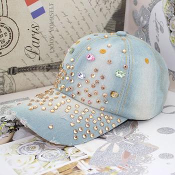 Summer women's fashion fancy color rhinestone baseball cap Casual female vintage hole denim hat Free shipping