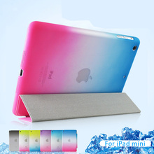 Detached 3 Fold Rainbow Smart case for iPad air 2 Ultra Thin Magnetic Leather Case For iPad mini 2 3 flip cover for ipad 2 3 4(China (Mainland))