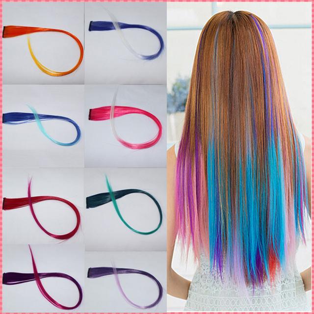Наращивание волос 2016 Новый Прибытие модные женские Длинные Синтетические Клип В Наращивание Волос Градиент Цвета косплей волос шт # JO009