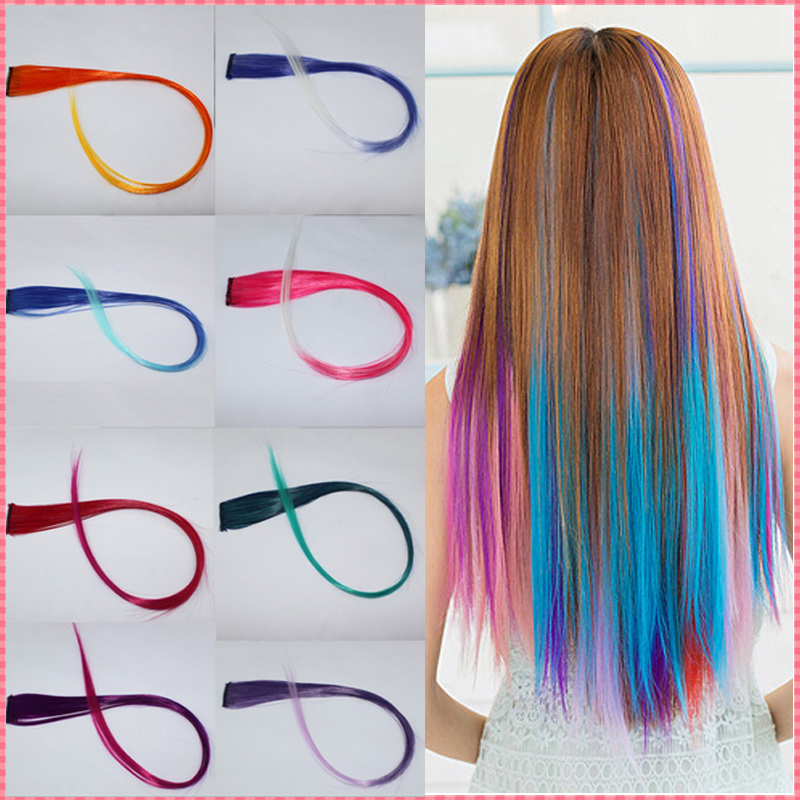 hair extensions 2017 New Arrive fashion women's Long Synthetic Clip In Extensions Gradient Color cosplay hair pieces #JO009