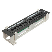 Universal 12 Port CAT5 CAT5E Patch Panel RJ45 Networking Wall Mount Rack Mount Bracket Both Surface Pro for Computer Office Tool