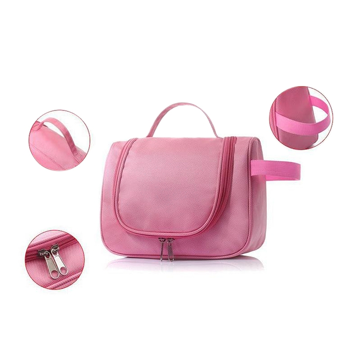 Hanging CosmeticToiletry Bag Large Capacity Storage Bag Travel Pouch Pink for best price(China (Mainland))