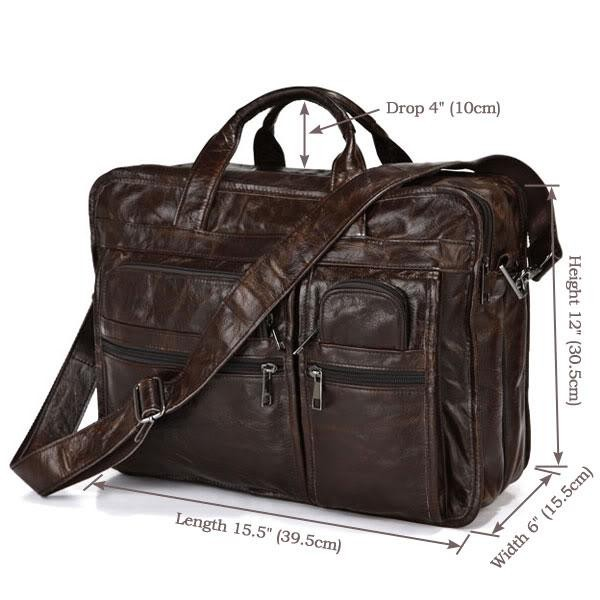 "Vintage genuine leather bags Men Briefcase natural cowskin portfolio men's messenger bag male bag 15.6"" laptop handbag #MD-J7093"