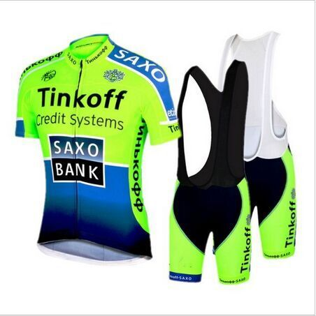 New 2015 Saxo Bank Fluo Green Cycling Jersey Bib Short Pants With Gel Pad Ropa de Ciclismo Maillot Bike Wear(China (Mainland))