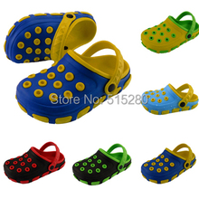 New 2015 Children Beach Sandals Summer Hollow Out Breathable Hole Shoes Jelly Ankle-wrap Eva Kids Garden Slipper Size 24-35(China (Mainland))