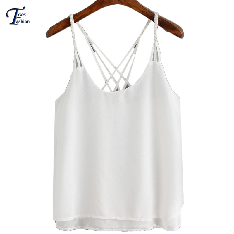 Clothes China Womens Tops Fashion 2016 Casual Hot Summer Plain White Loose Spaghetti Strap V Neck Chiffon CamisoleОдежда и ак�е��уары<br><br><br>Aliexpress