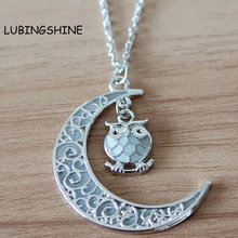LUBINGSHINE Moon Owl Glow In The Dark Necklace Vintage Steampunk Hollow Luminous Necklaces Glow Jewelry N562(China (Mainland))