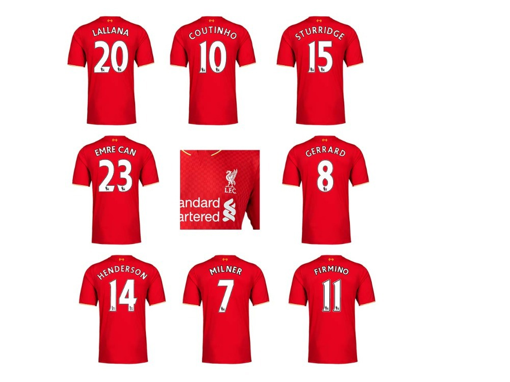 New Arrival Camiseta Jersey 15/16 England Red Home Soccer Kit GERRARD HENDERSON COUTINHO STERLING Soccer Jersey Free Custom(China (Mainland))