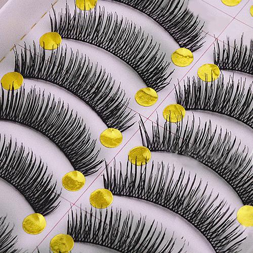 Popular 10 Pares Handmade Cruz Longos e Grossos Cílios Postiços Maquiagem Eye Lashes Extensão