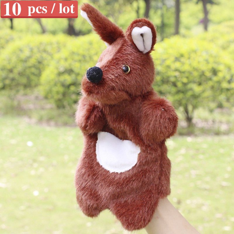 Sale the kangaroo hand puppets for kids plush anmial hand puppet large size kangaroo finger puppets 10 pcs / lot(China (Mainland))