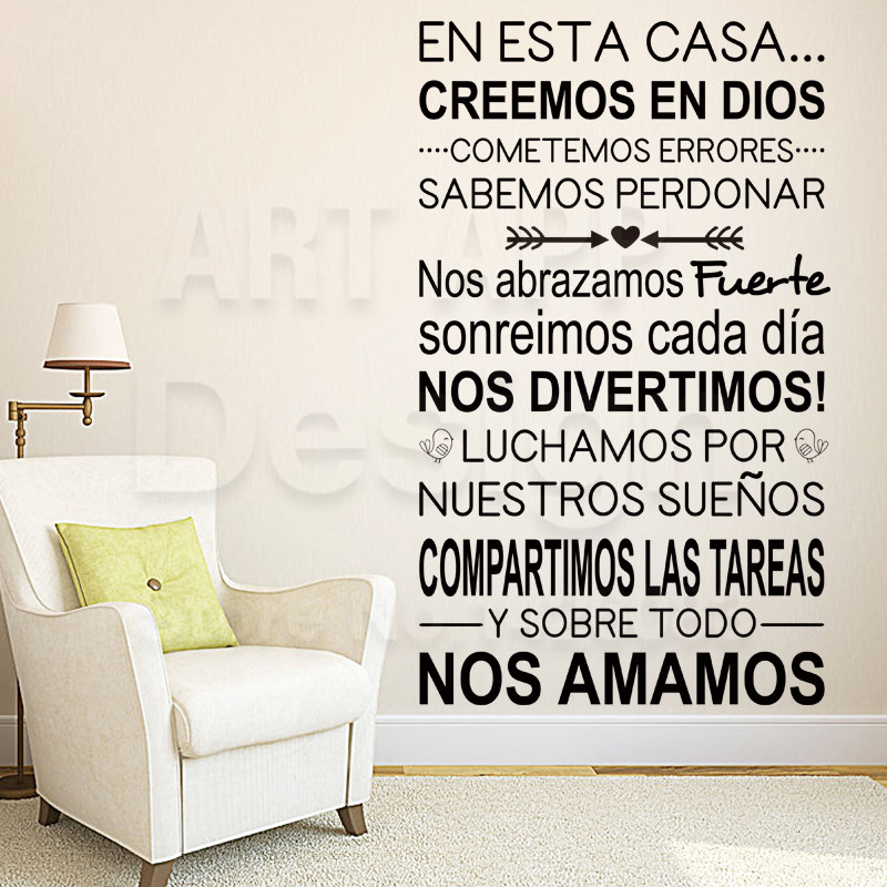Art new design home decor vinyl cheap Spanish Home rules words wall sticker colorful house decoration family quote room decals(China (Mainland))