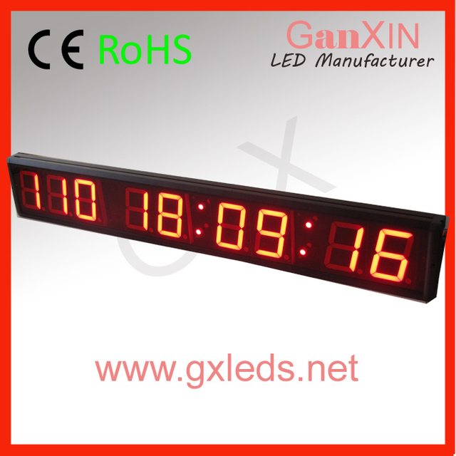 4 inch 9 digits red led wall clock kitchen wall clock