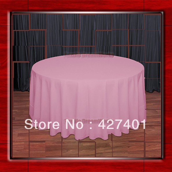 """Hot Sale 132"""" R Pink Round Table Cloth Polyester Plain Table Cover for Wedding Events &Party Decoration(Supplier)(China (Mainland))"""