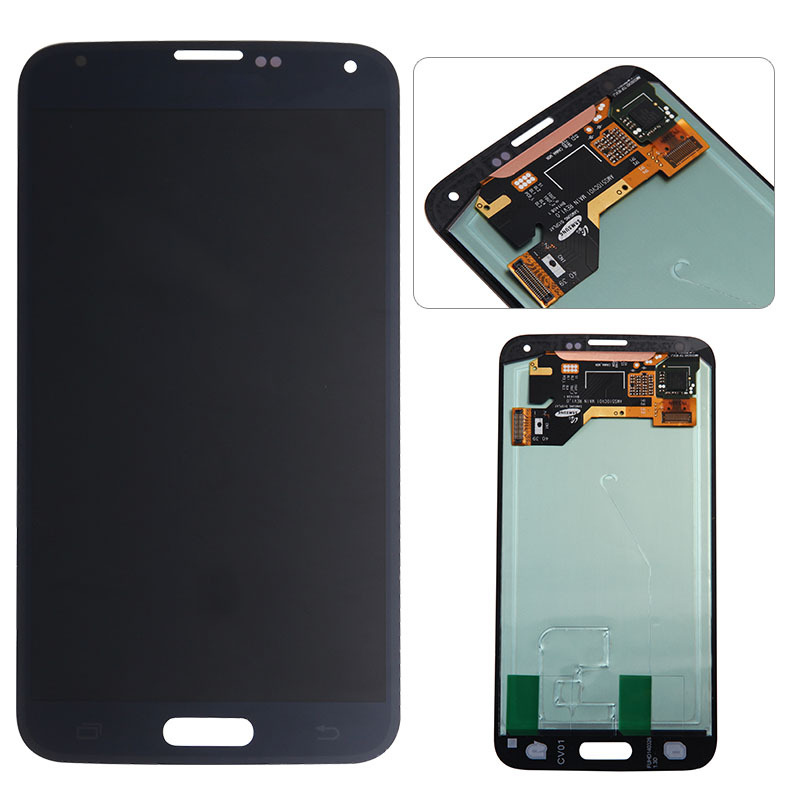 Wholesale Mobile phone spare parts 100% Original For Samsung galaxy S5 I9600 lcd G900F/G900H LCD screen display digitizer black(China (Mainland))