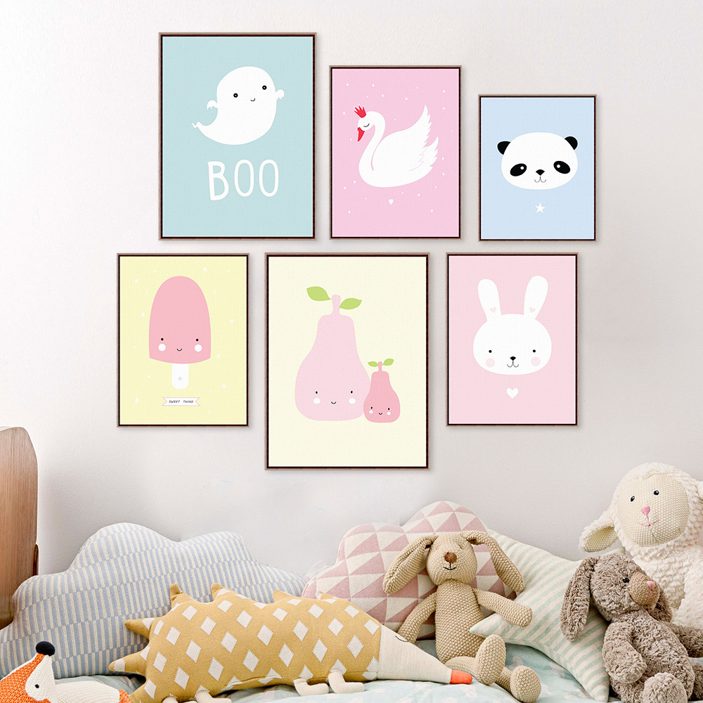Kawaii Animal Panda Poster Print A4 Modern Nordic Cartoon Nursery Wall Art Picture Kids Baby Room Decor Canvas Painting No Frame(China (Mainland))