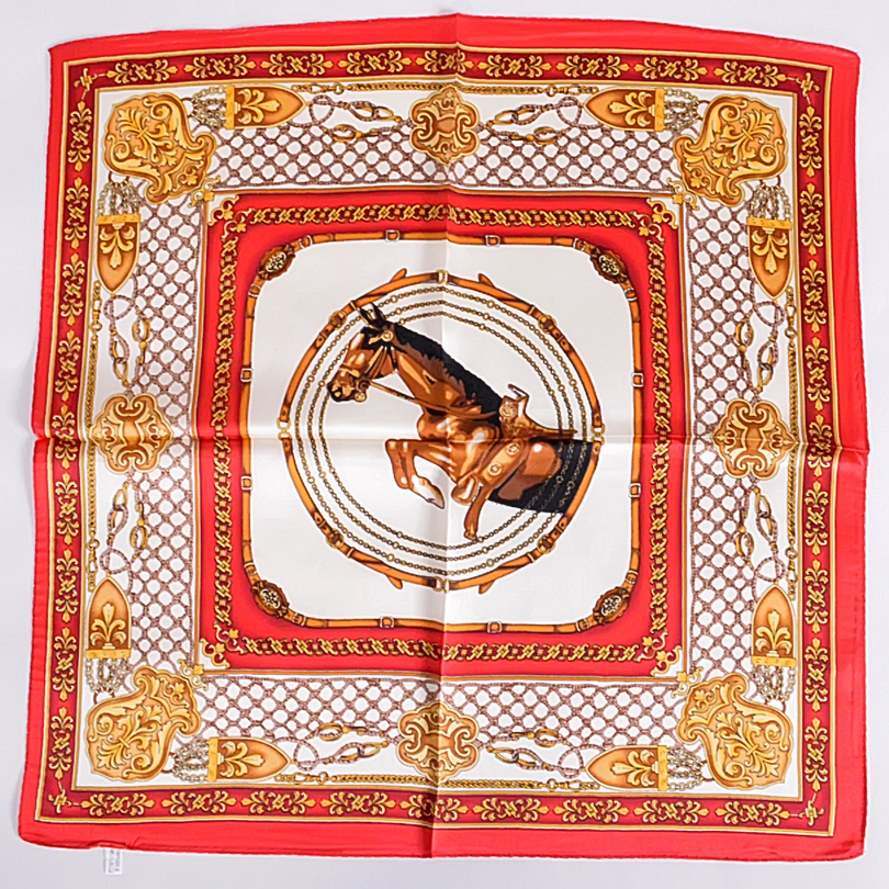 Red Small Silk Scarf 2016 Autumn Winter Ladies Accessories Small Square Scarves 53*53cm Horse Plaid Pattern Pure Silk Scarf(China (Mainland))