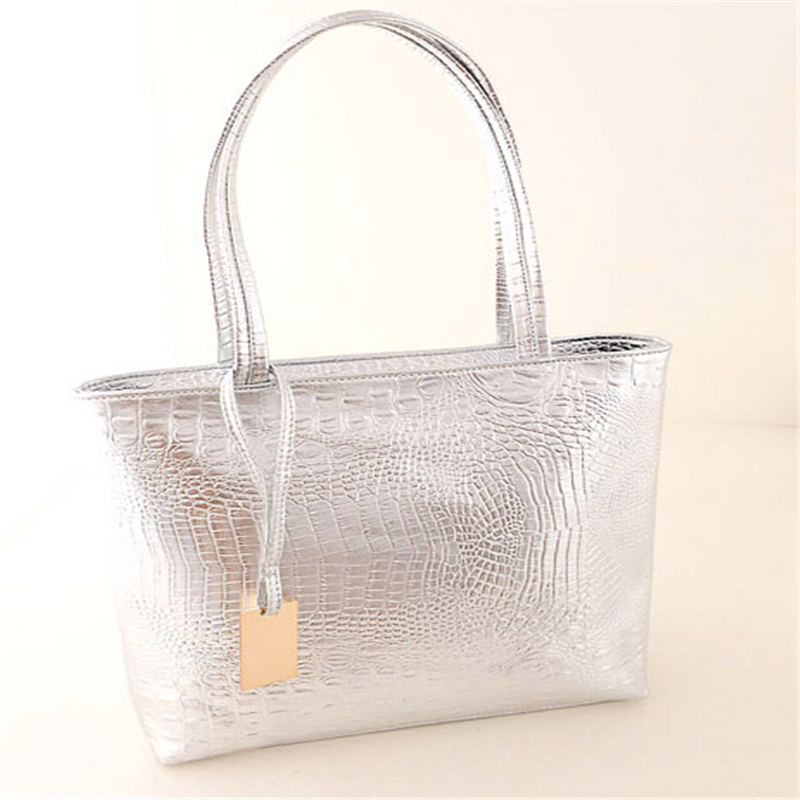 Fashion Women PU Leather Handbags Metal Color Shoulder Bags Alligator Pattern Tote Bag Golden Silver Black Bags For Ladies(China (Mainland))