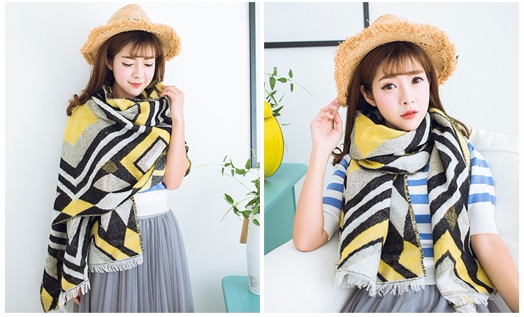 2015 New Arrival Luxury Brand Thicken Vintage Geometric za Winter Scarf Fashion Kerchief For Woman Fashion Ponchos And Capes