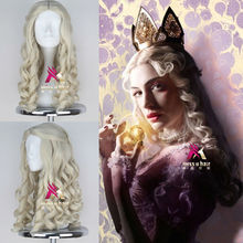 New Movie Alice in Wonderland White Queen Wig Women Long Blonde Curly Cosplay Costume Wig(China (Mainland))