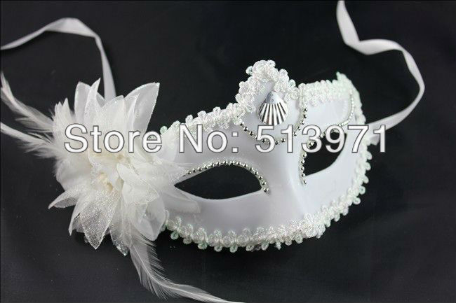 new arrived feather mask white mask halloween props Christmas props(China (Mainland))