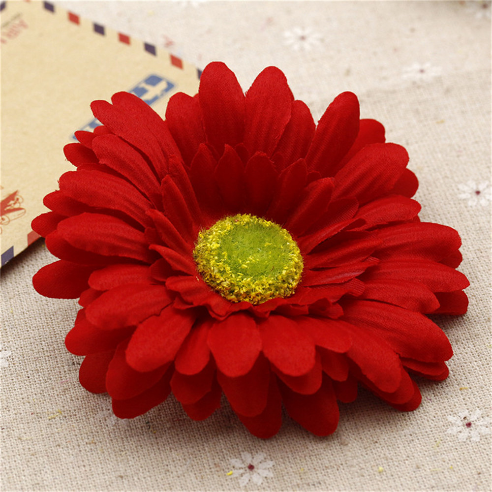 5pcs 10cm Large Silk Gerbera Artificial Flower Head Wedding Car Decoration DIY Garland Decorative Floristry Flowers